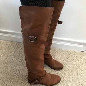 Lucky Brand Brown Leather Over the Knee Boots